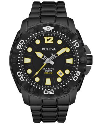 Bulova Men's UHF Sea King Black-Tone Stainless Steel Bracelet Watch 49mm 98B242
