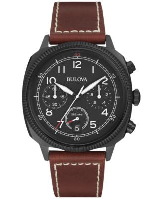 Bulova Men's UHF Chronograph Military Brown Leather Strap Watch 43mm 98B245