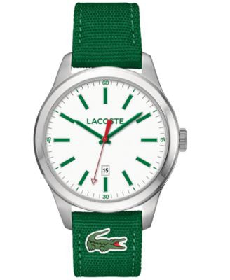 Lacoste Men's Auckland Green Nylon Canvas Strap Watch 44mm 2010777