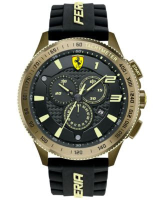 Scuderia Ferrari Men's Chronograph Scuderia XX Black Silicone Strap Watch 48mm 830244