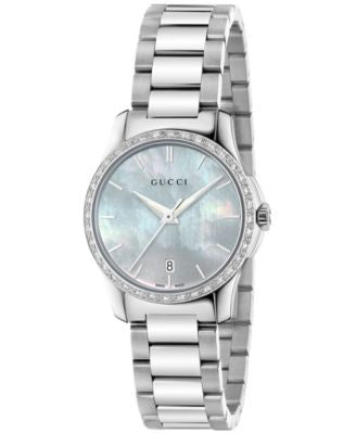 Gucci Women's Swiss G-Timeless Diamond (1/4 ct. t.w.) Stainless Steel Bracelet 27mm YA126525