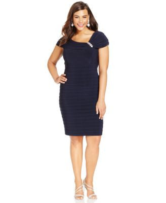 XSCAPE Plus Size Embellished Tiered Sheath Dress