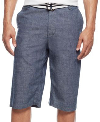 Sean John Men's Belted Flat-Front Chambray Shorts
