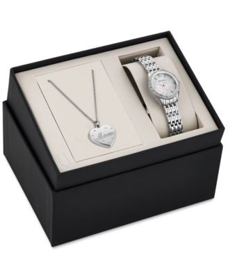 Bulova Women's Mom Pendant Necklace and Stainless Steel Bracelet Watch Set 26mm 96X133