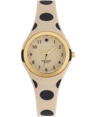 kate spade new york Women's Rumsey Beige and Black Polka Dot Printed Rubber Strap Watch 30mm 1YRU061
