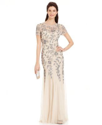 Adrianna Papell Embellished Floral-Print Gown