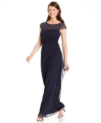 MSK Embellished Side-Ruffle Gown