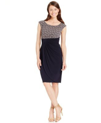 Connected Petite Cap-Sleeve Print Sheath Dress