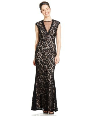 Betsy & Adam Cap-Sleeve Lace Illusion Gown