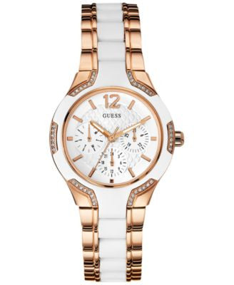 GUESS Women's White Silicone and Rose Gold-Tone Steel Bracelet Watch 36mm U0556L3