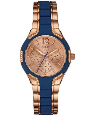 GUESS Women's Blue Silicone and Rose Gold-Tone Steel Bracelet Watch 36mm U0556L5