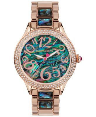 Betsey Johnson Women's Abalone-Color and Rose Gold-Tone Bracelet Watch 40mm BJ00478-04