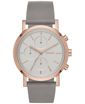 DKNY Women's Chronograph Soho Gray Leather Strap Watch 38mm NY2338
