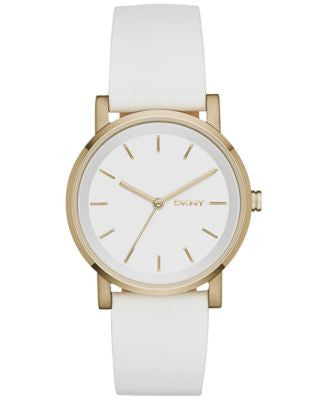 DKNY Women's Soho White Leather Strap Watch 34mm NY2340
