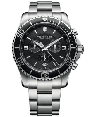 Victorinox Swiss Army Men's Chronograph Maverick Stainless Steel Bracelet Watch 43mm 241695