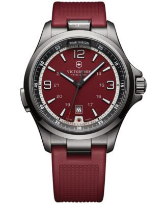 Victorinox Swiss Army Men's Night Vision Red Rubber Strap Watch 42mm 241717