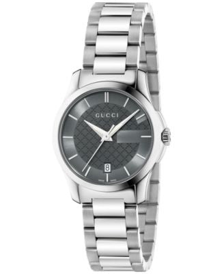 Gucci Women's Swiss G-Timeless Stainless Steel Bracelet Watch 27mm YA126522