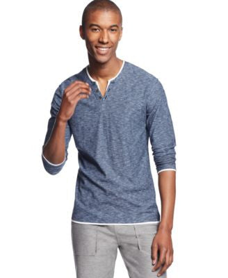 INC International Concepts Men's Popular Guy Long-Sleeve Split-Neck T-Shirt, Only at Vogily