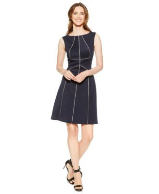Calvin Klein Petite Piped Scuba A-Line Dress