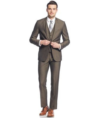 Kenneth Cole Reaction Brown Sharkskin Slim-Fit Vested Suit