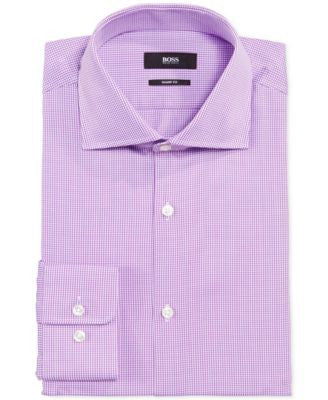 BOSS HUGO BOSS Sharp-Fit Cross-Stitched Dress Shirt