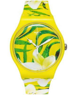 Swatch Unisex Swiss Limbo Dance Multicolor Print Silicone Strap Watch 41mm SUOJ104