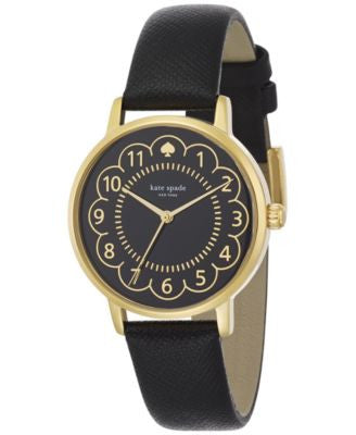 kate spade new york Women's Metro Black Leather Strap Watch 34mm 1YRU0790