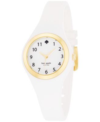 kate spade new york Women's Rumsey White Silicone Strap Watch 30mm 1YRU0793
