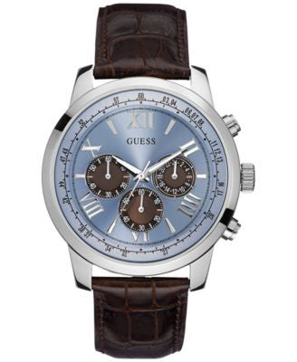 GUESS Men's Chronograph Brown Croc-Embossed Leather Strap Watch 45mm U0380G6