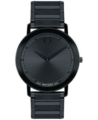 Movado Unisex Swiss Sapphire Black PVD-Finished Stainless Steel Bracelet Watch 40mm 0606882