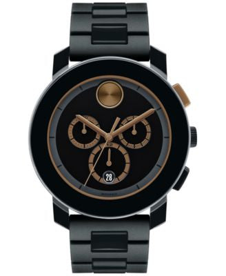 Movado Men's Swiss Chronograph Bold Black Polyurethane and Stainless Steel Link Bracelet Watch 44mm