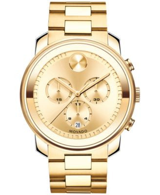 Movado Men's Swiss Chronograph Bold Gold Ion-Plated Stainless Steel Bracelet Watch 44mm 3600278