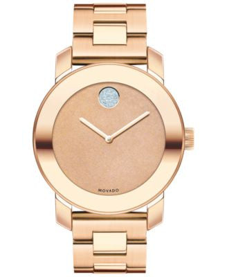 Movado Women's Swiss Bold Rose Gold Ion-Plated Stainless Steel Bracelet Watch 36mm 3600335
