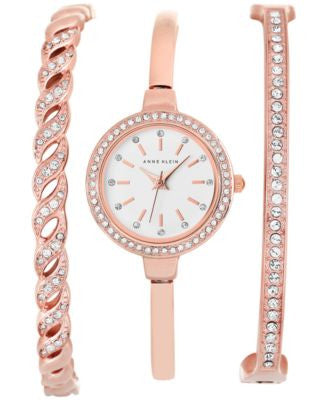 Anne Klein Women's Rose Gold-Tone Bangle Bracelet Watch Set 24mm AK/2046RGST