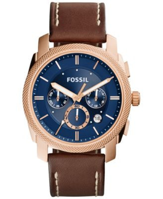 Fossil Men's Chronograph Machine Brown Leather Strap Watch 42mm FS5073