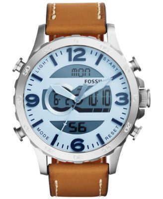 Fossil Men's Analog-Digital Nate Saddle Leather Strap Watch 50mm JR1492