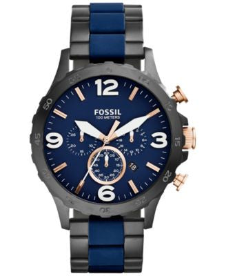 Fossil Men's Chronograph Nate Blue Silicone and Black Ion-Plated Stainless Steel Bracelet Watch 50mm