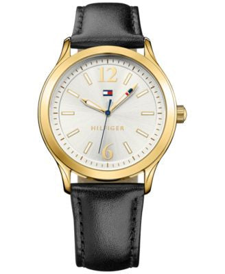 Tommy Hilfiger Women's Black Leather Strap Watch 38mm 1781554