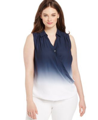 INC International Concepts Plus Size Dip-Dyed Faux-Wrap Blouse