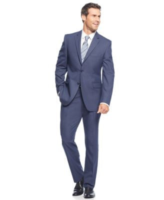 Perry Ellis Blue Sharkskin Slim-Fit Suit