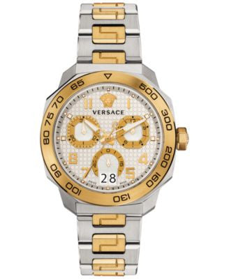 Versace Women's Swiss Chronograph Dylos Two-Tone Stainless Steel Bracelet Watch 44mm VQC030015