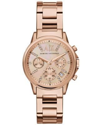 A|X Armani Exchange Women's Chronograph Rose Gold-Tone Stainless Steel Bracelet Watch 36mm AX4326