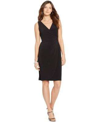 American Living Faux-Wrap Surplice Dress