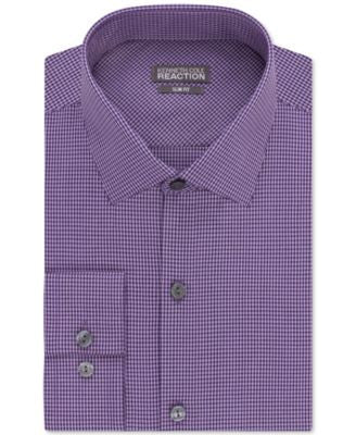 Kenneth Cole Reaction Slim-Fit Bright Violet Mini Check Performance Dress Shirt