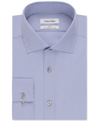 Calvin Klein STEEL Slim-Fit Non-Iron Blue Stripe Performance Dress Shirt