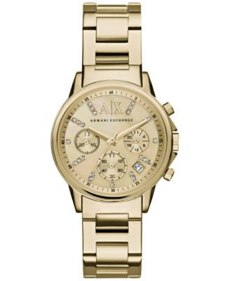 A|X Armani Exchange Women's Chronograph Gold-Tone Stainless Steel Bracelet Watch 36mm AX4327