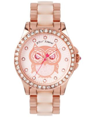 Betsey Johnson Women's Blush and Rose Gold-Tone Bracelet Watch 40mm BJ00246-10