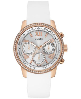 GUESS Women's White Silicone Strap Watch 42mm U0616L1