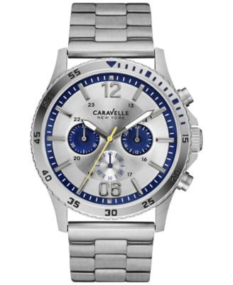 Caravelle New York by Bulova Men's Chronograph Stainless Steel Bracelet Watch 44mm 43A130