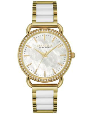 Caravelle New York by Bulova Women's White Ceramic and Gold-Tone Stainless Steel Bracelet Watch 34mm